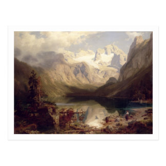 Un paysage alpin étendu de lac, 1862 (huile sur c carte postale