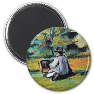 Un peintre au travail à côté de Paul Cézanne (la m Magnet Rond 8 Cm