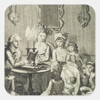 Un père lisant à sa famille par la lueur d'une sticker carré