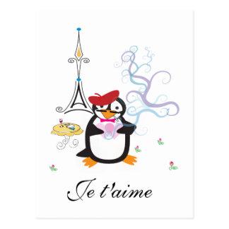 Un pingouin en carte postale de Paris