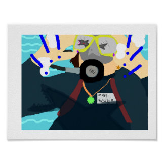 Un plongeur autonome de femmes voit un requin ! ! affiches