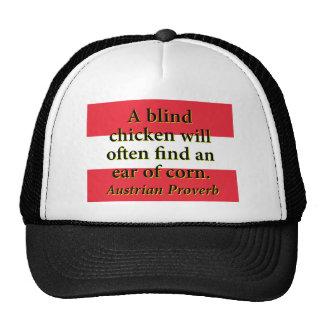 Un poulet aveugle trouvera souvent casquette