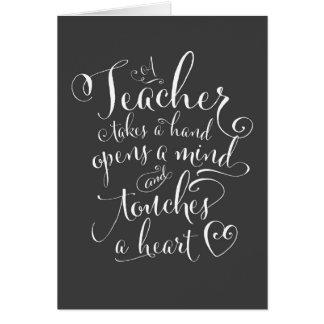 Un professeur prend une main ouvre un esprit cartes de vœux