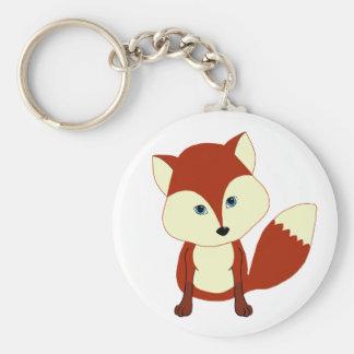 Un renard rouge mignon porte-clé rond