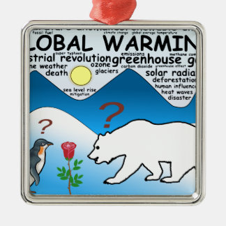 Un rose dans l'Arctique qui est réchauffement Ornement Carré Argenté