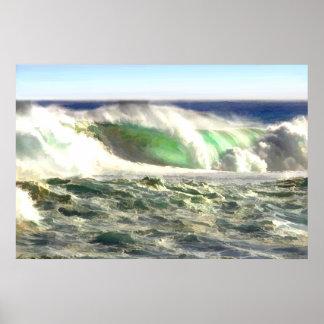 Un roulement géant de vague dedans à étayer posters