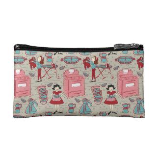 Un sac heureux de cosmétique de ménage