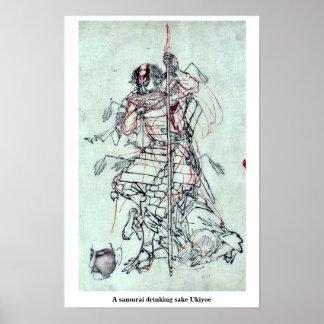 Un saké potable samouraï Ukiyoe Posters