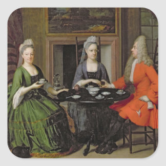 Un thé (huile sur la toile) sticker carré