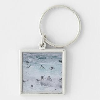 Un troupeau des pingouins de Rockhopper lancent ho Porte-clé Carré Argenté