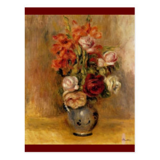 Un vase de Renoir de Gladiolas et de roses Carte Postale