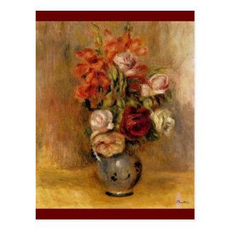 Un vase de Renoir de Gladiolas et de roses Cartes Postales