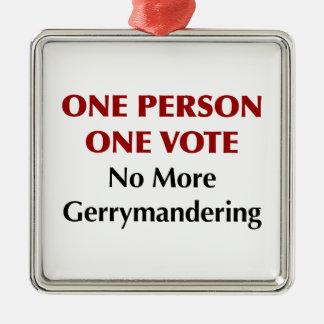Un vote de la personne une, pas plus de charcutage ornement carré argenté