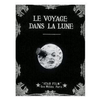 Un voyage cinéma français vintage de lune au rétro carte postale