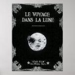 Un voyage cinéma français vintage de lune au rétro poster