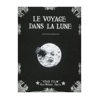 Un voyage cinéma français vintage de lune au rétro toile tendue