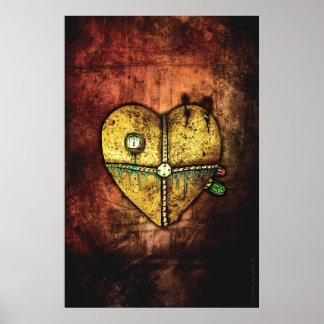 Une affiche gothique moins cassée d'art de coeur posters