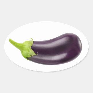Une aubergine sticker ovale
