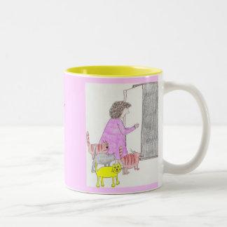 une autre dame folle de chat mug bicolore