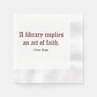 Une bibliothèque implique un acte de foi serviette en papier