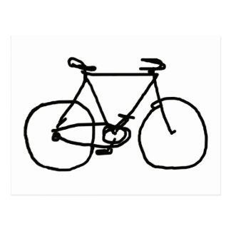 une bicyclette noire stylisée carte postale