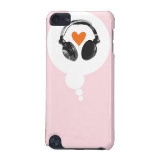Une bulle de pensée avec un coeur et des écouteurs coque iPod touch 5G