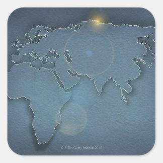 Une carte bleue simple montrant trois continents - sticker carré