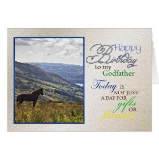 Une carte d'anniversaire de cheval pour le parrain