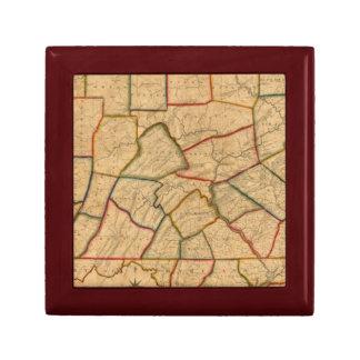 Une carte de l'état de la Pennsylvanie Petite Boîte À Bijoux Carrée