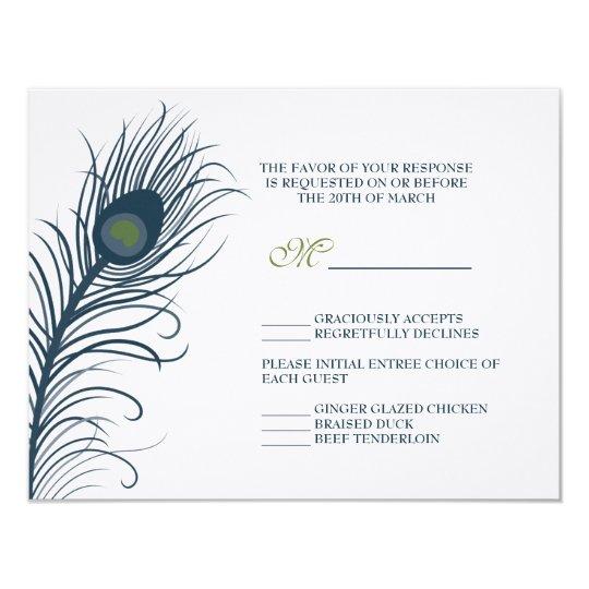 une carte de r ponse de mariage de paon carton d 39 invitation 10 79 cm x 13 97 cm zazzle. Black Bedroom Furniture Sets. Home Design Ideas