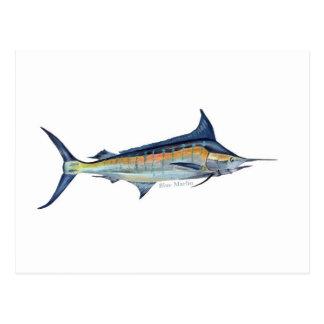 Une carte postale de poissons de Marlin bleu