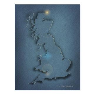Une carte simple des îles britanniques avec le cartes postales