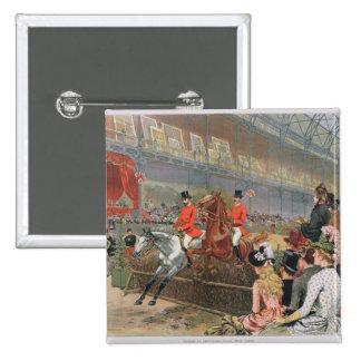 Une course de cheval, 1886 badge carré 5 cm