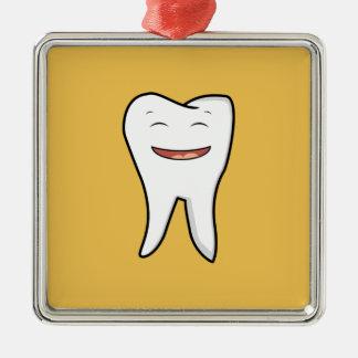 Une dent très heureuse ornement carré argenté