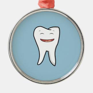 Une dent très heureuse ornement rond argenté