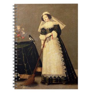 Une domestique avec un balai carnet