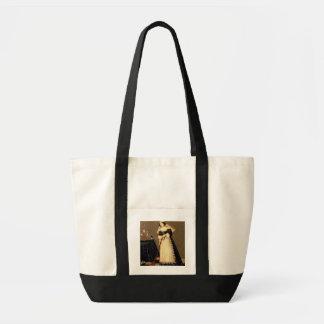Une domestique avec un balai sacs de toile