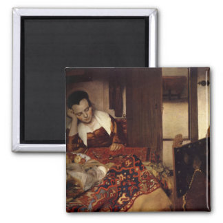 Une domestique endormie magnet carré