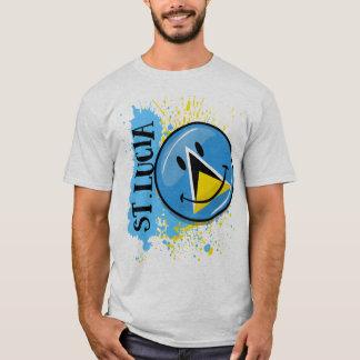 Une éclaboussure de drapeau de sourire du St Lucia T-shirt