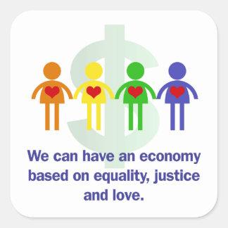 Une économie basée sur l'égalité, la justice et sticker carré