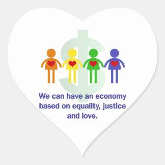 Une économie basée sur l'égalité, la justice et sticker cœur