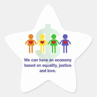 Une économie basée sur l'égalité, la justice et sticker étoile