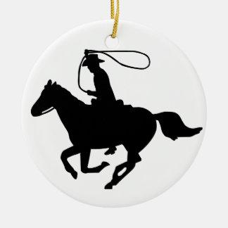 Une équitation de cowboy avec un lasso. décorations de noël