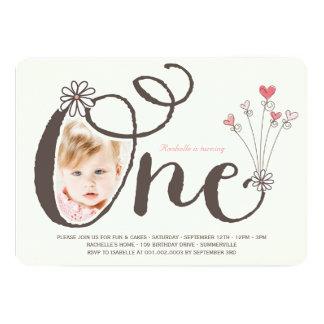 Une ?ère photo lunatique d'anniversaire de bébé carton d'invitation  12,7 cm x 17,78 cm
