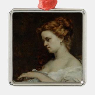 Une femme avec les bijoux, 1867 ornement carré argenté