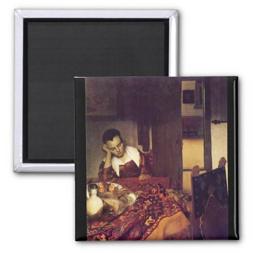 Une femme endormie par Johannes Vermeer Magnets