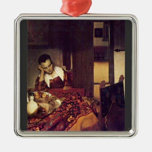 Une femme endormie par Johannes Vermeer Décorations Pour Sapins De Noël