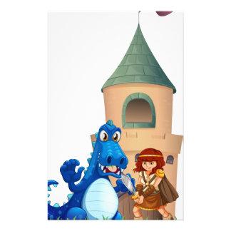 Une femme et un dragon en dehors du château papeterie