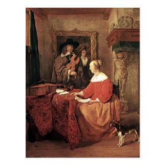 Une femme et un violon de accord d'homme par Gabri Carte Postale