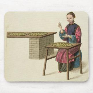 Une femme préparant le thé, plaquent 21 'du costum tapis de souris